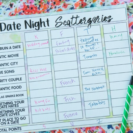 Filled out Scattergories printable