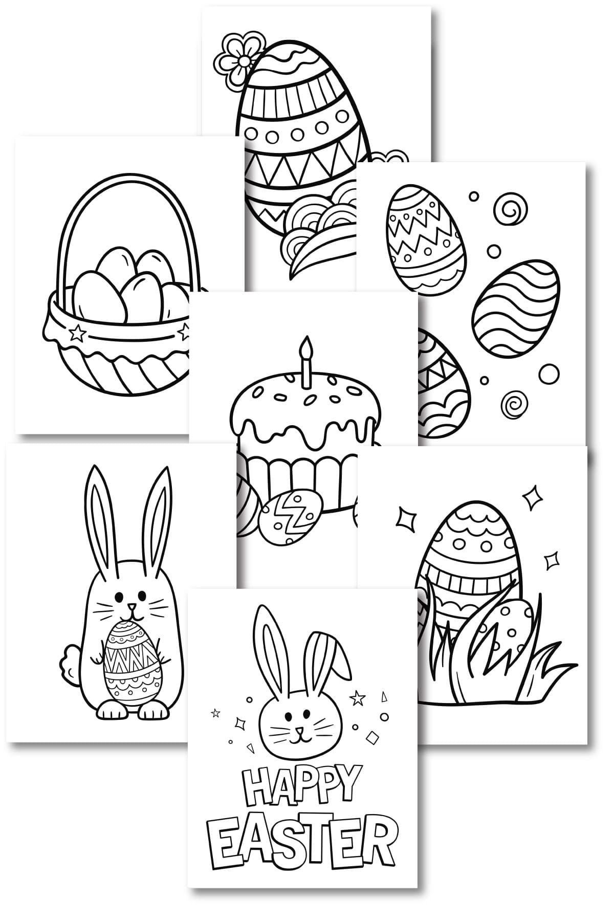collage of Easter coloring pages
