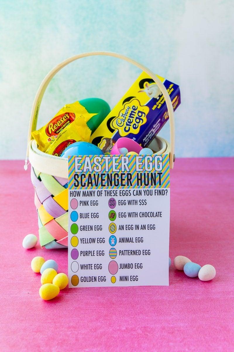 Easter egg scavenger hunt and an Easter basket