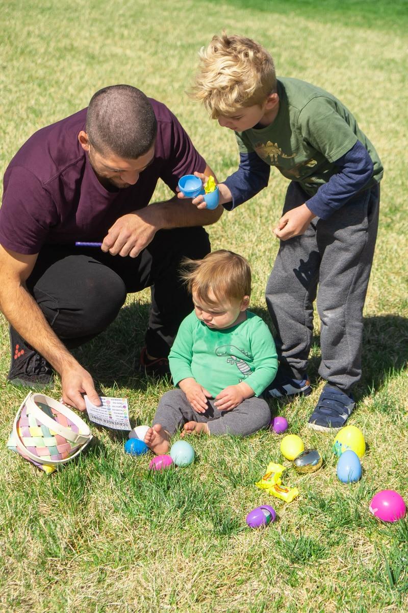 Family doing an Easter egg scavenger hunt