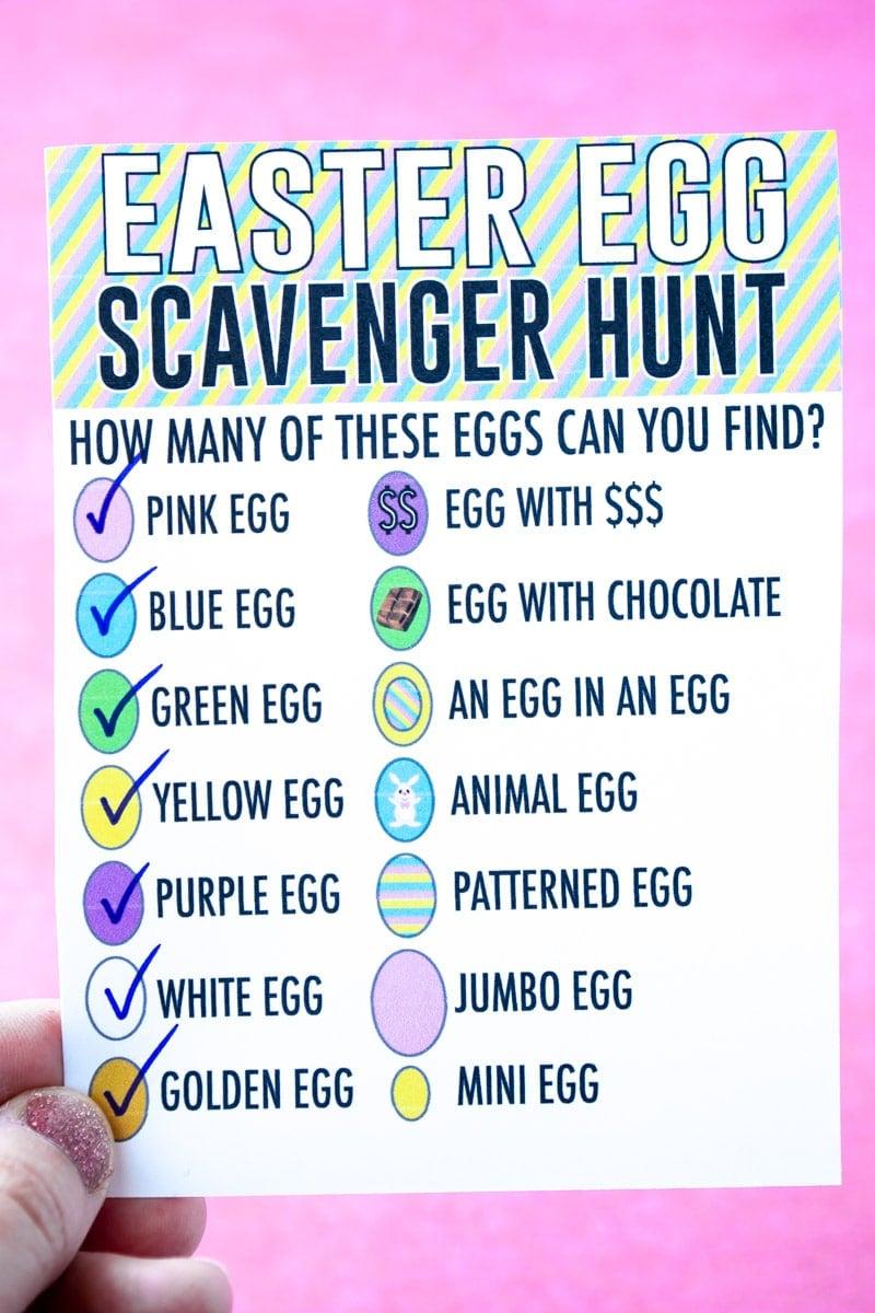hand holding an Easter egg scavenger hunt