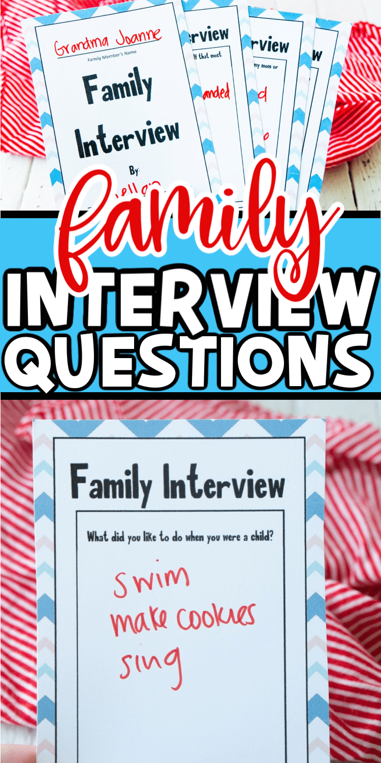Whether you're separated from family because you live far from them or because we're all currently staying safe at home, these free printable family interview questions can make you feel close to family members who are far away.