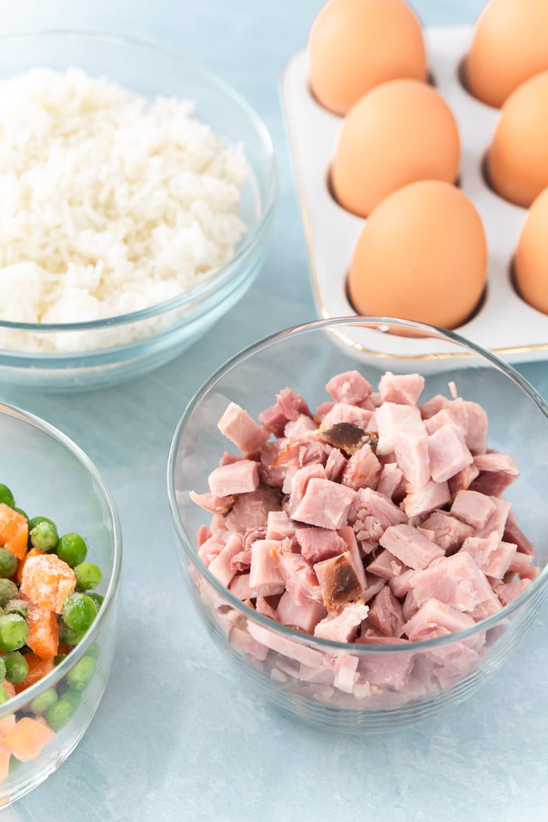 Ingredients for the best ham fried rice recipe