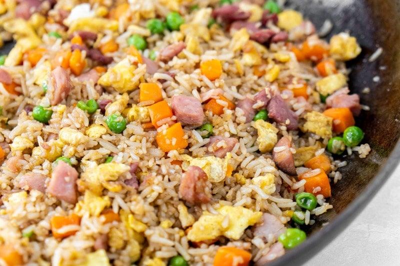 Pan full of homemade ham fried rice
