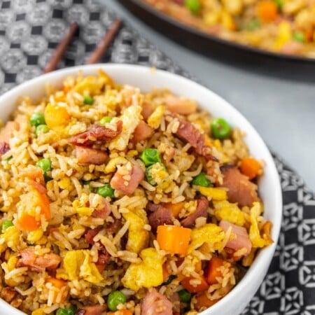Bowl full of ham fried rice