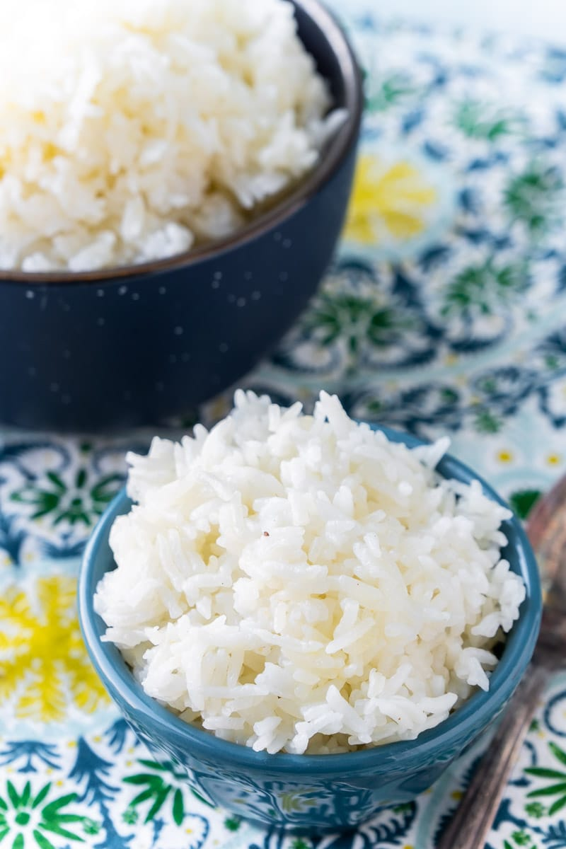 Small and large bowls of Instant Pot basmati rice