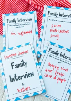 Printed family interview questions
