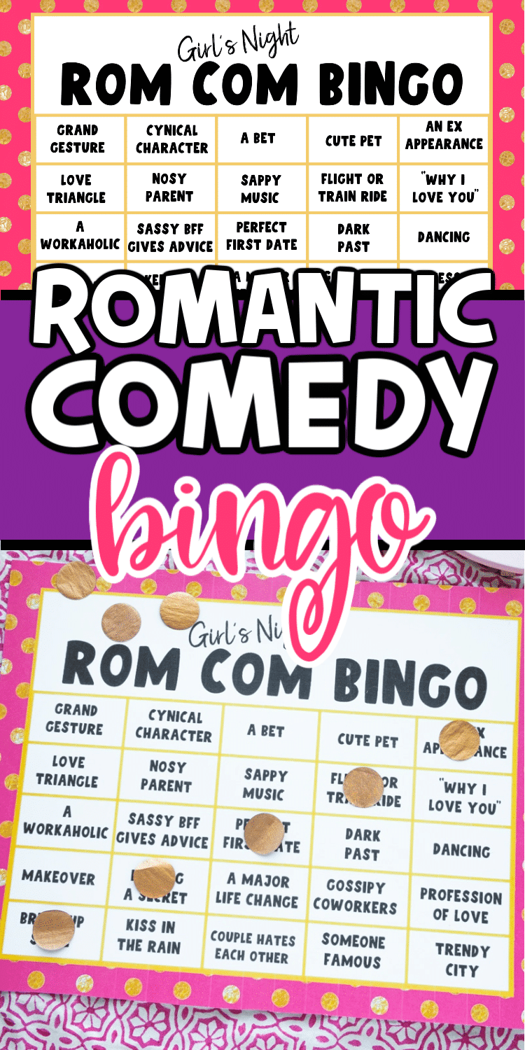 This romantic comedy movie bingo game is perfect for a girls night, at home date night, or just playing while you watch alone!