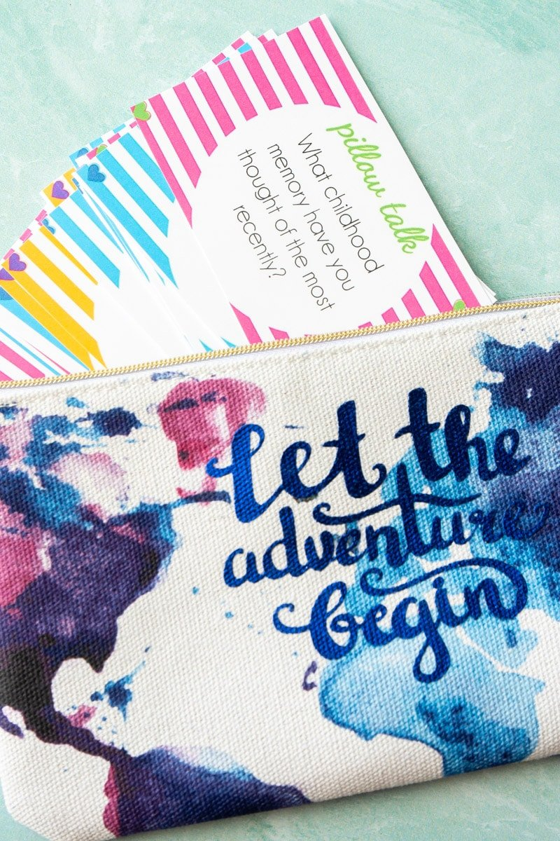 Pillow talk questions in a zipper pouch