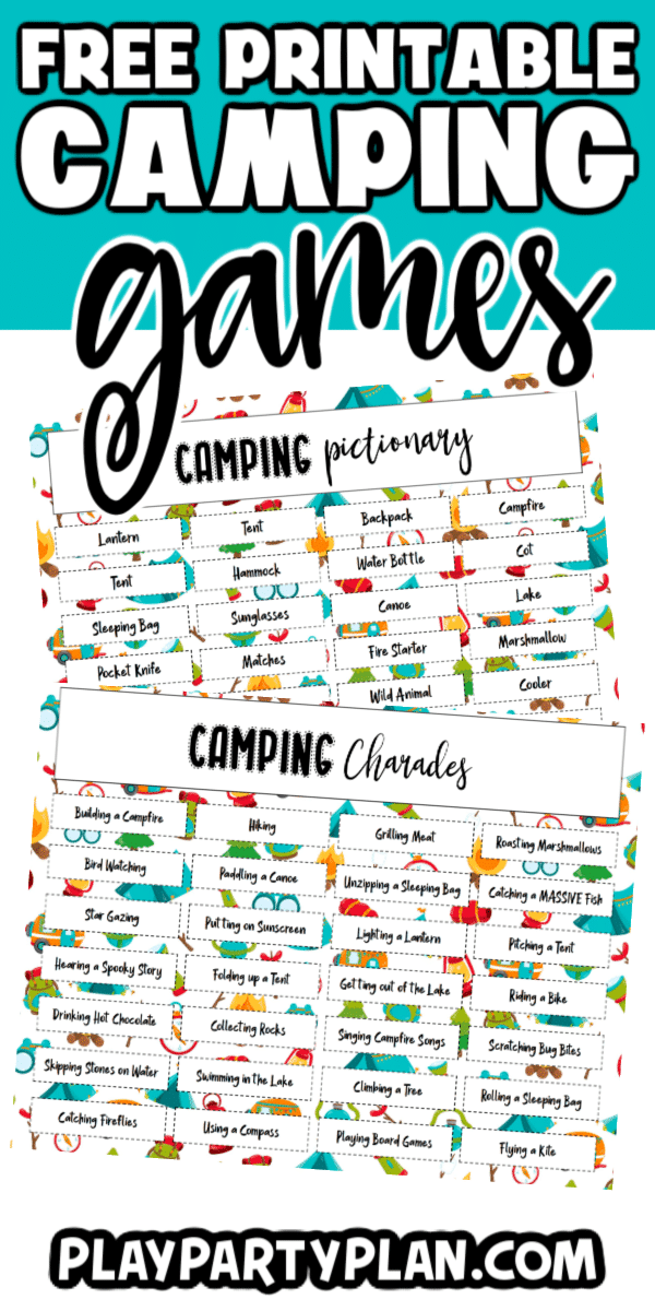 Play camping charades or pictionary to add an element of fun to a campout or camp themed party! Use the free printable camp charade themed words to play these fun games with the entire family!