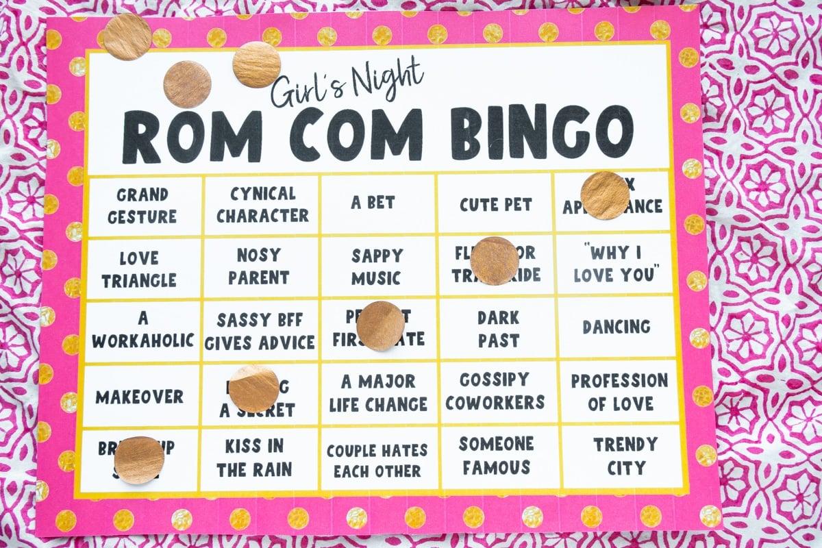 Winning movie bingo card