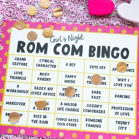 Printed movie bingo card
