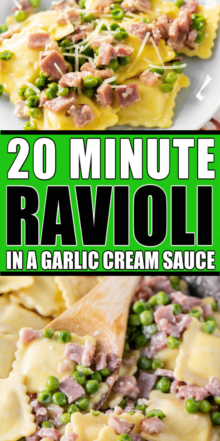 Ravioli with ham and peas in a creamy garlic butter sauce makes a quick and easy dinner that the whole family will love! Simply toss together frozen ravioli, leftover ham, frozen peas, and the garlic cream sauce for one yummy dish!
