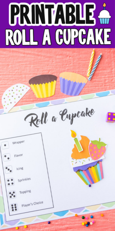 This printable roll a cupcake game is one of the best birthday party games! It's super easy to play, printable, and fun for all ages!
