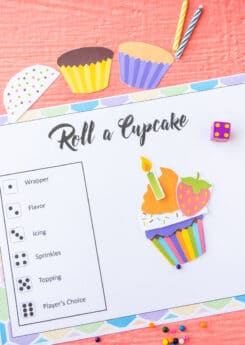 Printed out roll a cupcake game