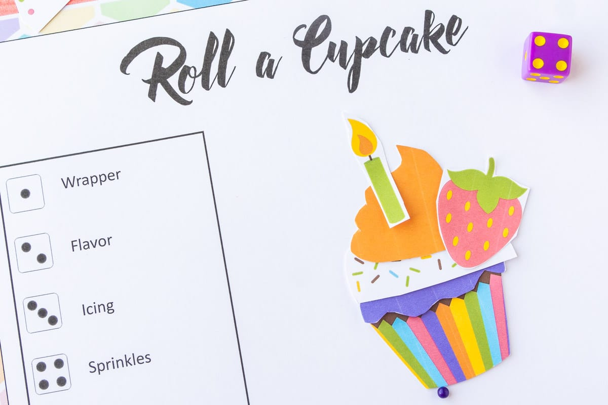 Roll a cupcake dice numbers