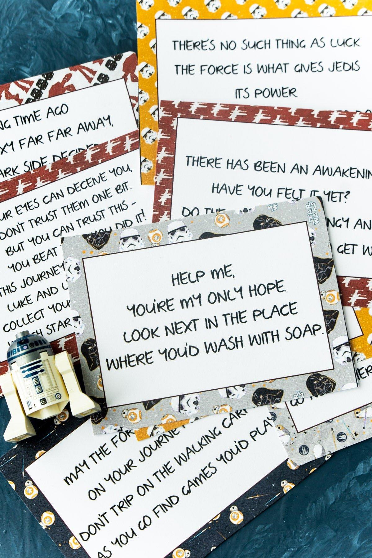 Pile of Star Wars scavenger hunt clues