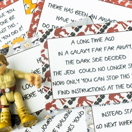 Star Wars scavenger hunt clues and a toy