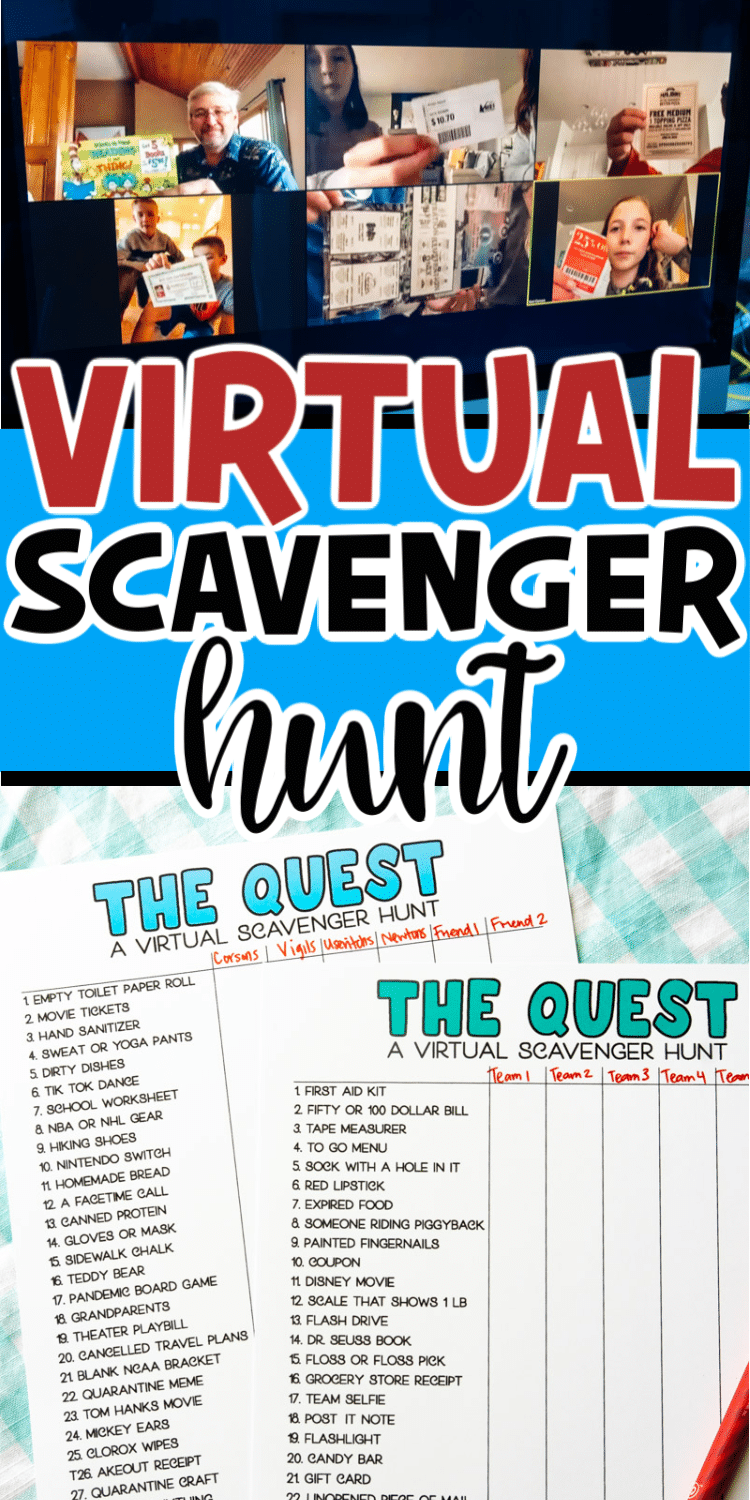 A virtual scavenger hunt is a super fun way to connect with your friends and family virtually! Print out one of the printable scavenger hunts included in this post, connect with your friends and family virtually, and play! It's a great way to make this stay at home time a little more fun!