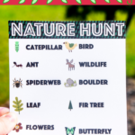 Someone holding a nature scavenger hunt