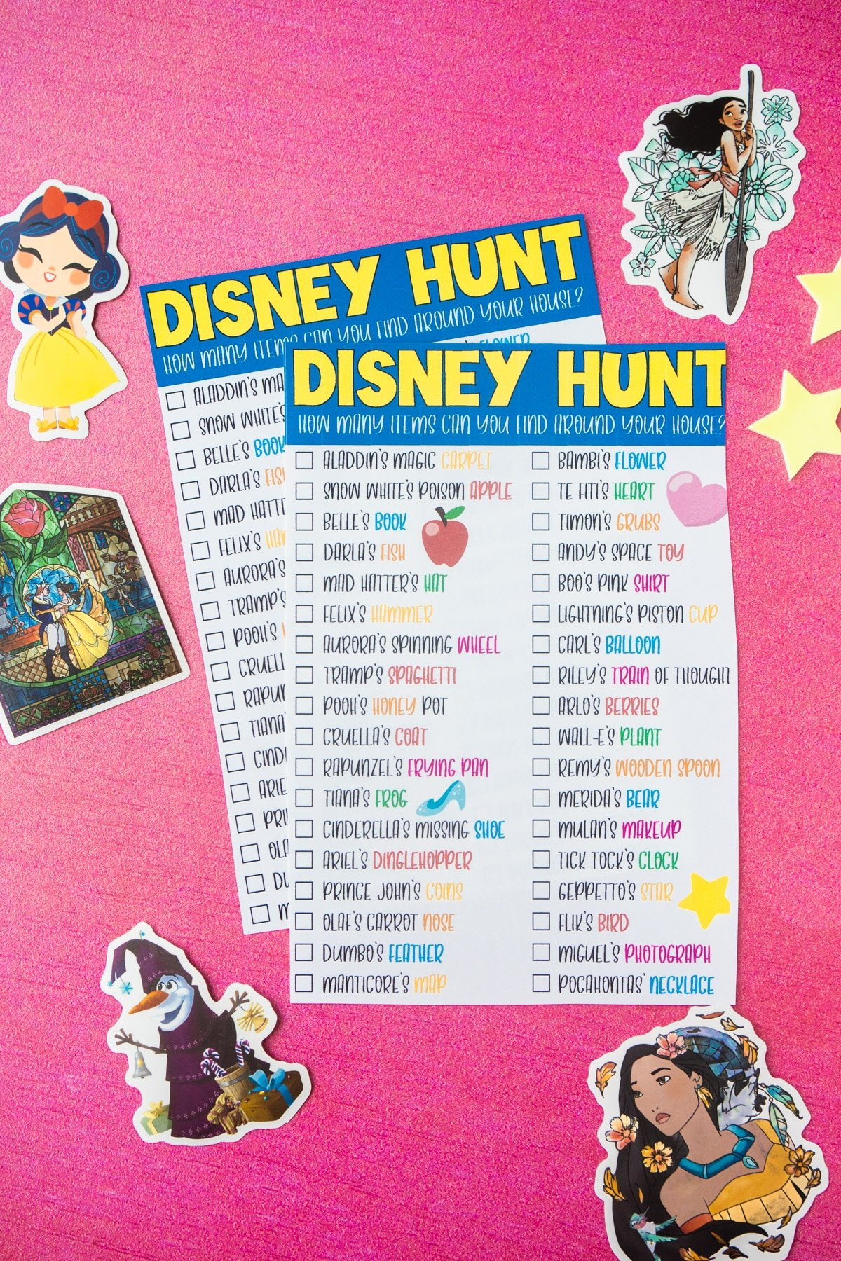 A disney scavenger hunt with Disney stickers