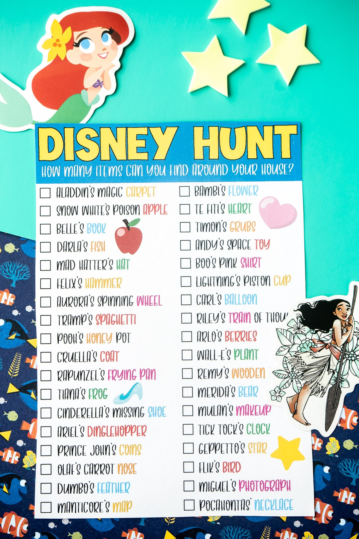 Disney scavenger hunt with Ariel and Moana stickers