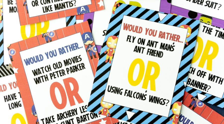 A pile of Marvel would you rather question cards
