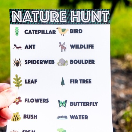 Nature scavenger hunt held in someone's hand