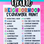 Neighborhood scavenger hunt with text for Pinterest