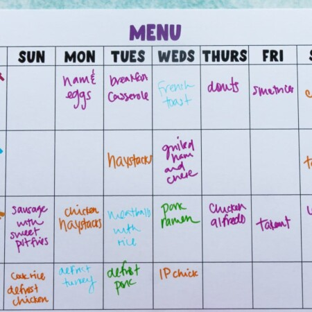 Colorful meal ideas on a printable meal planner
