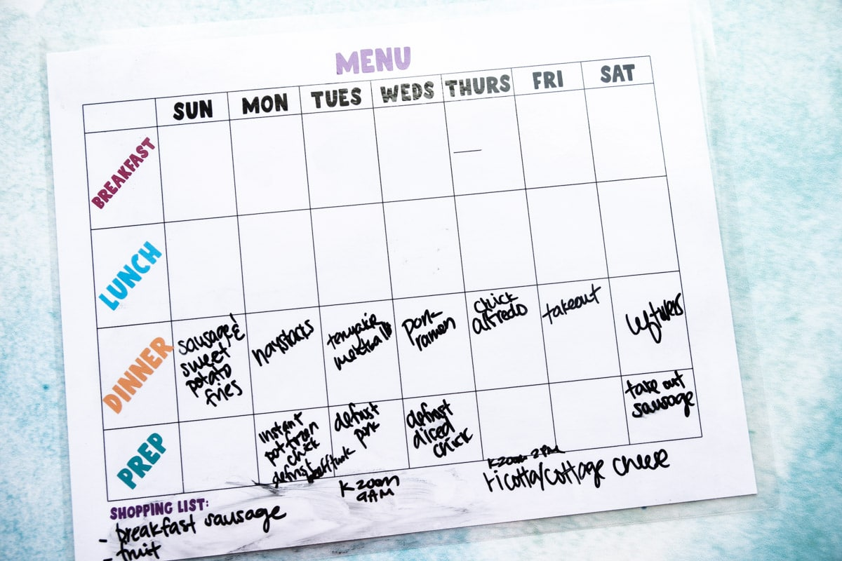 Dinners filled in a printable weekly meal planner