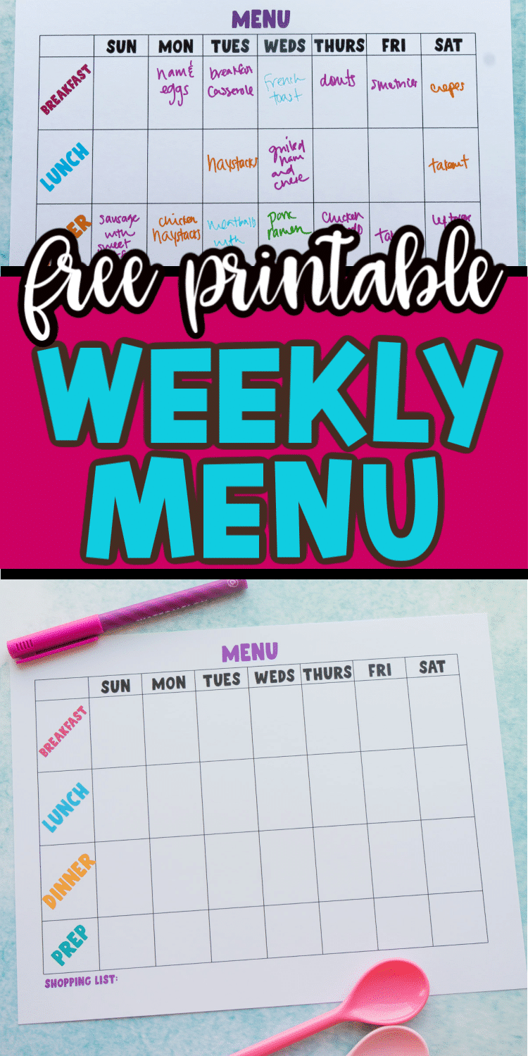 Collage of printable weekly menu planner images