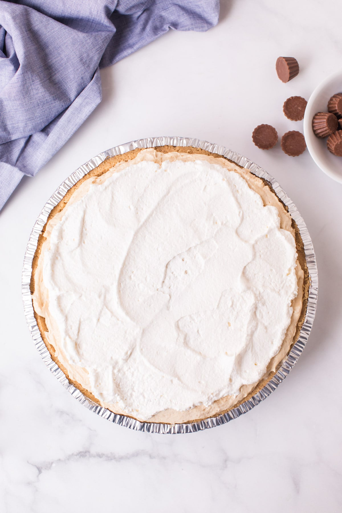 Whipped topping on a pie crust
