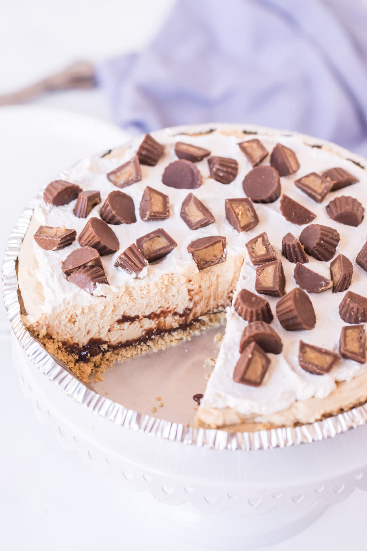 Reese's peanut butter pie with a slice cut out