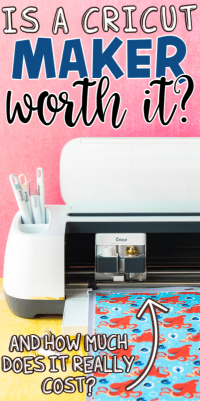 Cricut Maker on a pink background with text for Pinterest