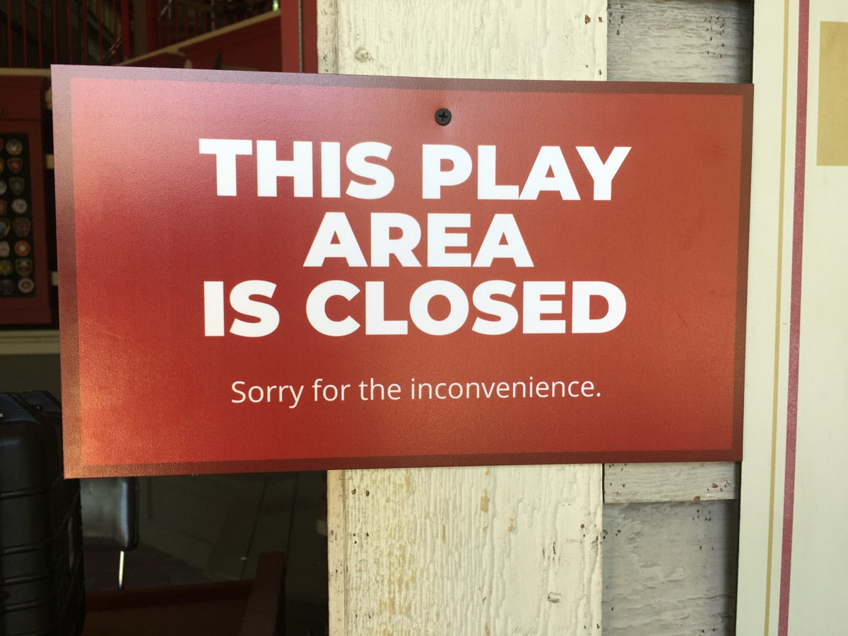 Sign showing play area closed at Silver Dollar City