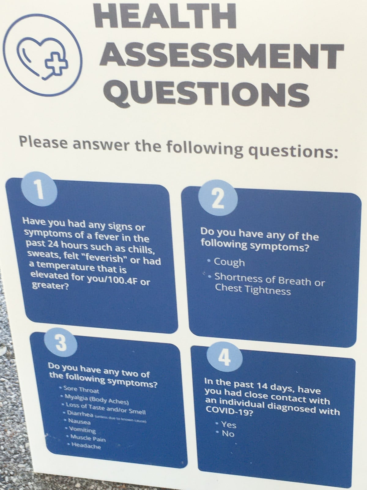 Health question sign at Silver Dollar City