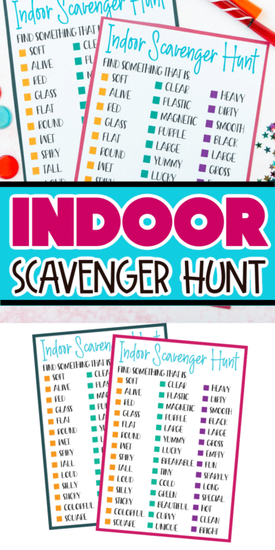 Printed indoor scavenger hunt with text for Pinterest