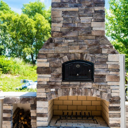 Stoned Round Grove outdoor brick oven
