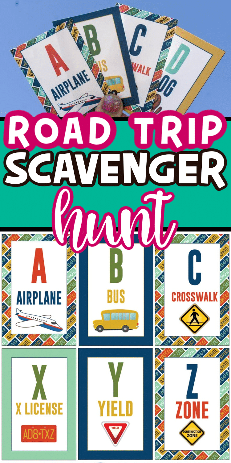Road trip scavenger hunt with text for Pinterest