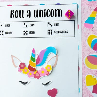 Free Printable Roll a Unicorn Game