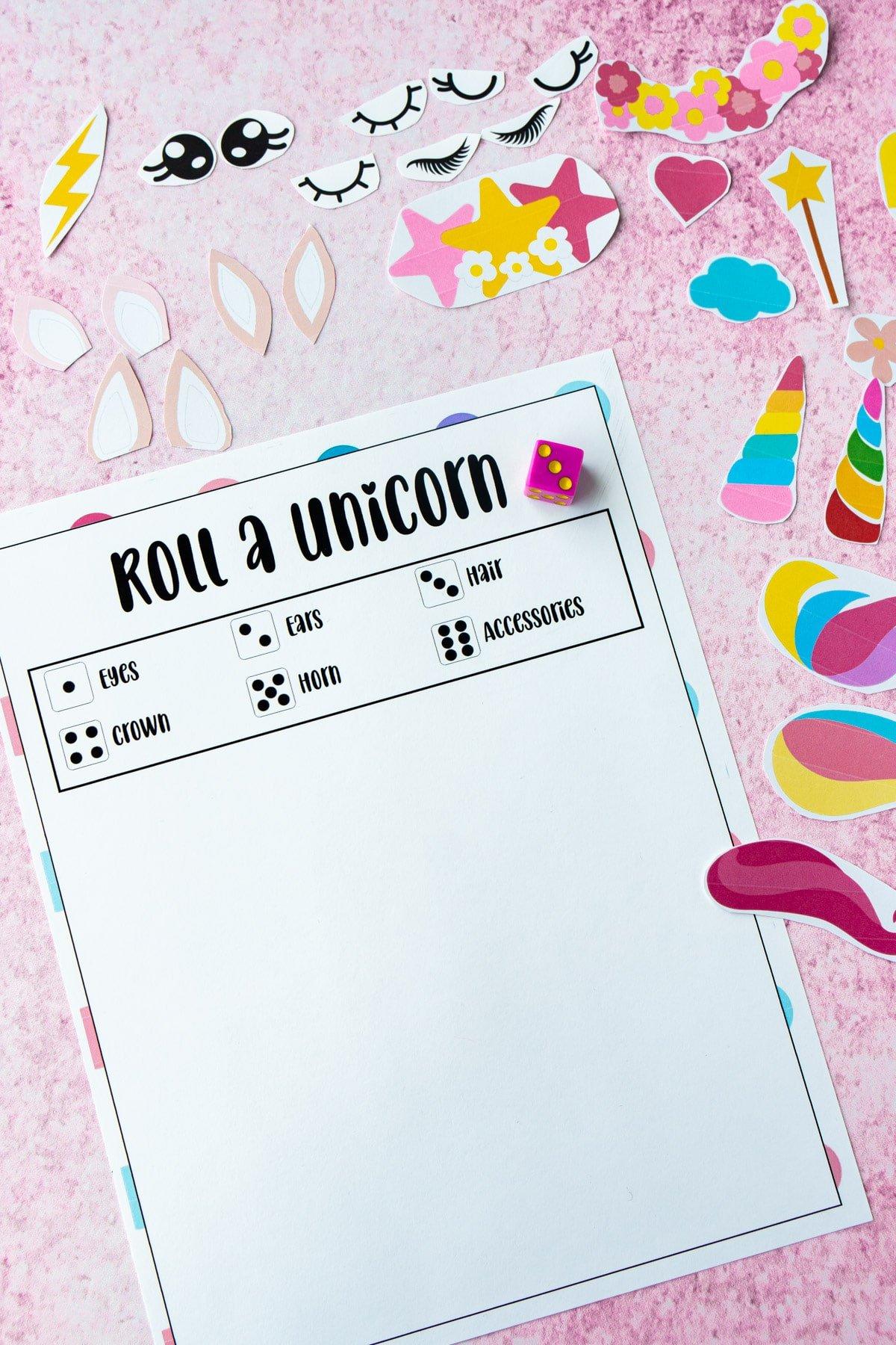 Blank roll a unicorn game sheet