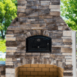 Outdoor brick oven with text for Pinterest