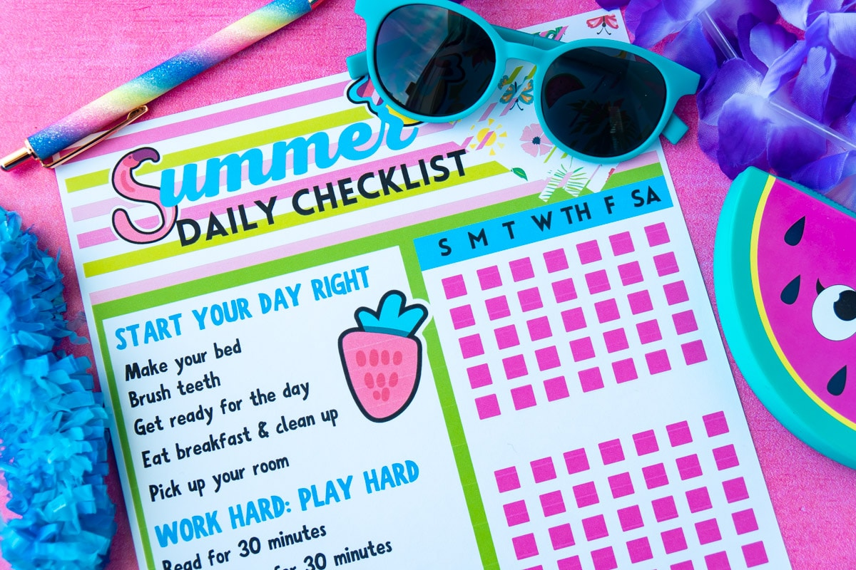 Summer chore chart for kids on a pink background
