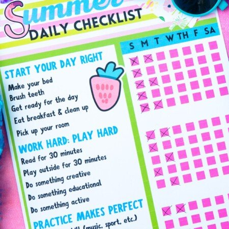 Summer chore chart on a pink background