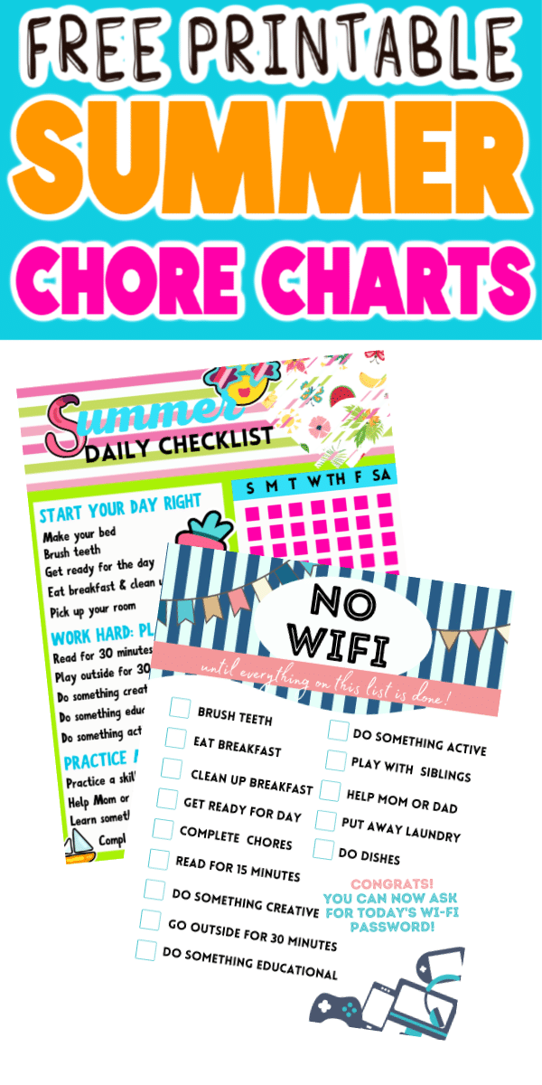 Summer Chore Charts with Text for Pinterest