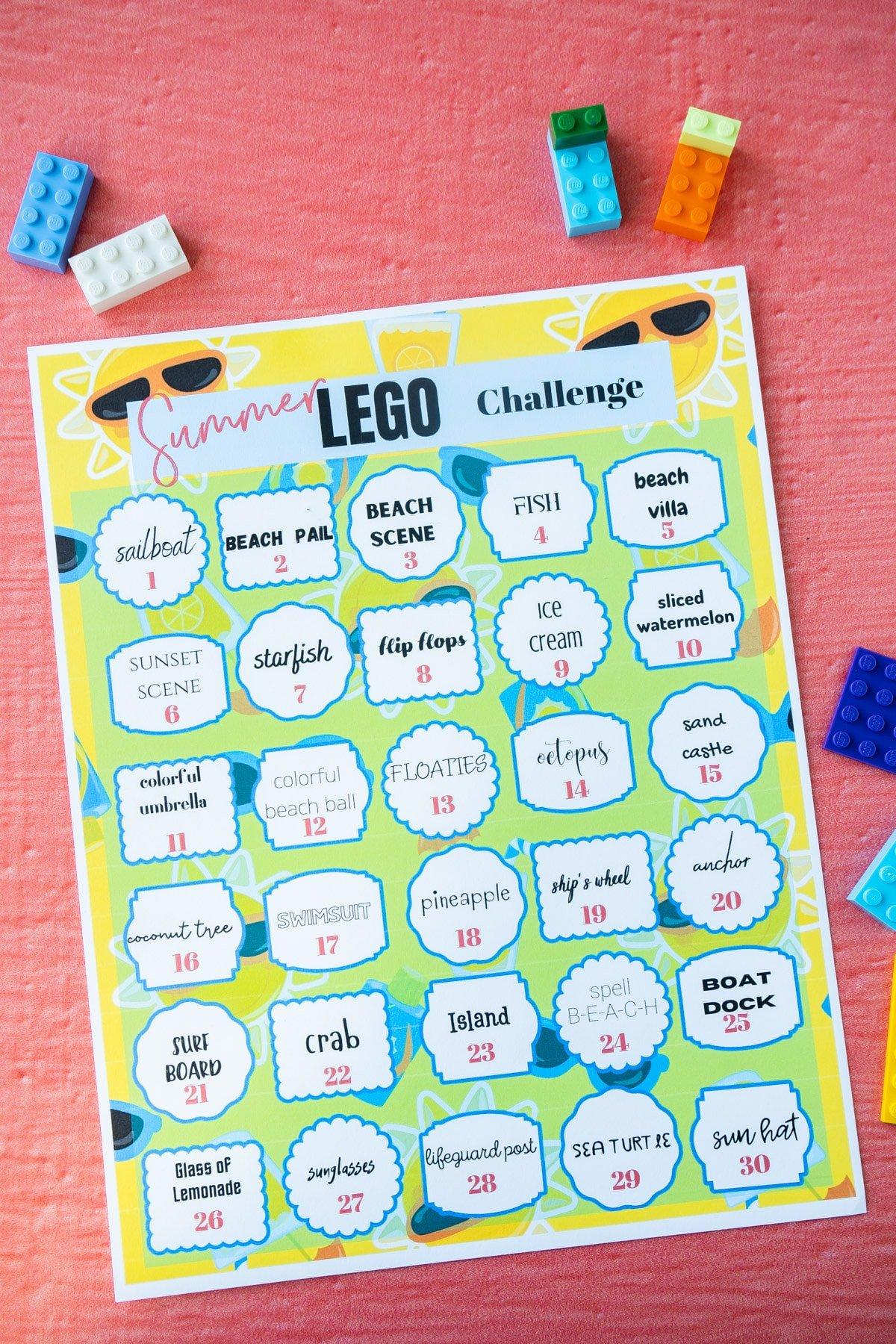 Printed summer lego challenge ideas