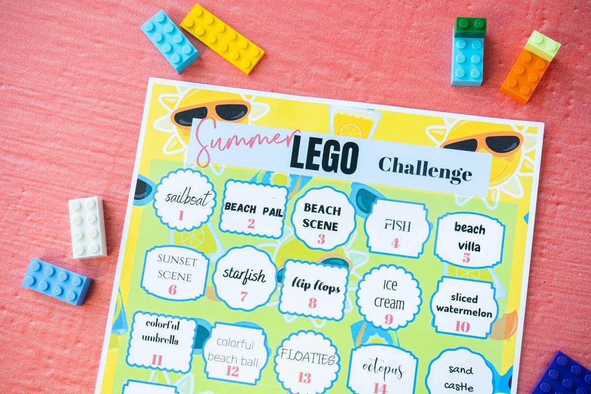 Summer Lego challenge printable with Legos