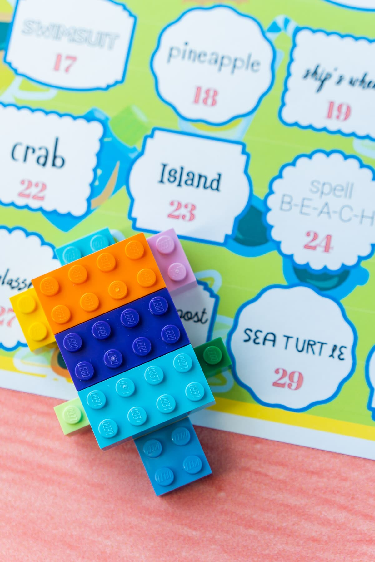 Lego turtle on top of summer Lego challenges printable