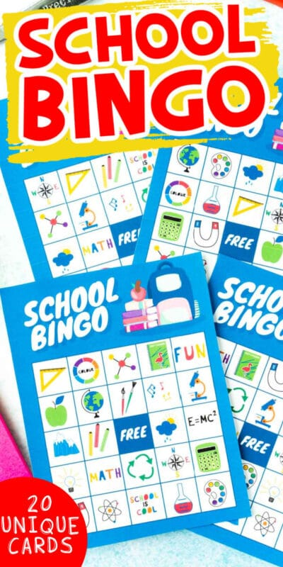 Pile of blue school bingo cards with text for Pinterest